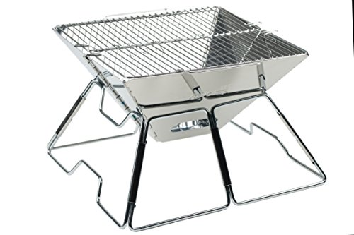 AceCamp Holzkohlegrill tragbarer Klappgrill Faltgrill Camping-Grill Garten Party BBQ Edelstahl Grill, 1600