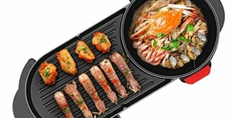 CJTMY Hot Pot Barbecue Integrierte Topf, Aluminium-Legierung Material, Elektro Hot Pot Indoor Barbecue-Ofen Hot Pot (mit Teiler)