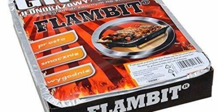 Flambit Einweggrill To go, mit Anzüghilfe, Holzkohle, Aluschale, 6er Pack (6 x Grill)
