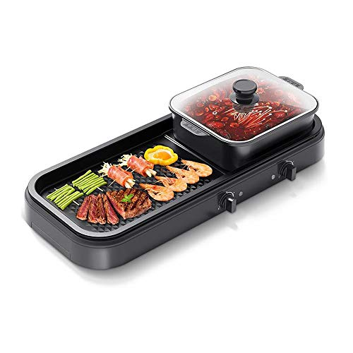 KOIUJ Multi-Funktions-Grill Bratpfanne Dual Purpose Barbecue Hot Pot EIN Pot Elektro Hot Pot Elektro-Backen-Wannen-Rinse-Wannen-Koch Pan Grilled Pan-Schwarz