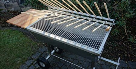 Kirschner Metallbau STECKERLFISCHGRILL FISCHGRILL 95x48cm Edelstahlgrill Edelstahl Grill Mangal BBQ Holzkohlegrill Kohle Griller Rost