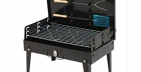 LHY DECORATION Tragbarer klappbarer picknickgrill BBQ Grill Camping Grill Outdoor Camping Party Picknick Grill Zubehör mit Griffen, schwarz