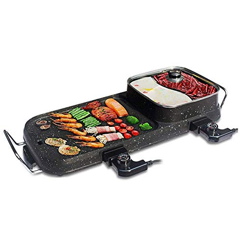 Lamyanran Fondue-Fritteusen BBQ Grill & Hot Pot, Non-Stick Elektrobackblech, Multi-Funktions-Elektro-Grill-Ofen und Hot Pot mit 5 Einstellbare Electric Power