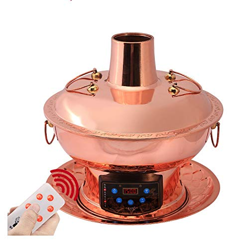Lamyanran Fondue-Fritteusen Multi-Funktions-Old Beijing Chinese Große Kupfer Traditionelle Holzkohle Hot Pot, Dual-Use-Elektro Charcoal Hot Pot mit Fernbedienung (Size : 32cm)