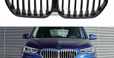 Wenxin Renngrills Nieren X1 Car Frontstoßstange Ierengitter Fit for BMW X1 F48 2020 Gloss Black Racing Grill Zubehör for Qualität ABS, Vorder Ierengitter Nieren-Frontgrill