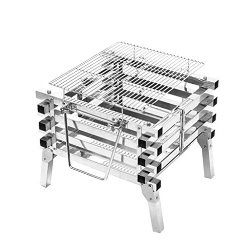 YWSZJ Edelstahl Camping Folding Tragbarer Barbecue Grill Holzkohlegrill Holz Feuer Bonfire Grill Herd