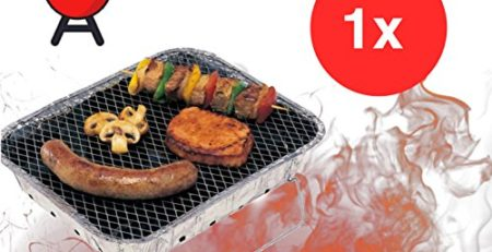TK Gruppe Timo Klingler 1x Einweggrill Einmalgrill Campinggrill Holzgrill Grill aus Aluminium zu Grillen Aluschale mit Kohle Holzkohle Picknickgrill Holzkohlegrill Grillkohle